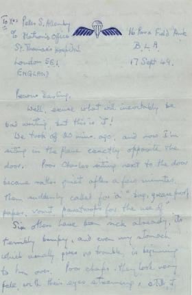 Letter from Lt Allenby to his wife onboard aircraft heading to Arnhem