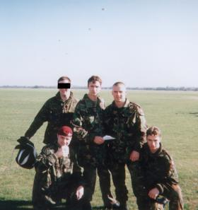 Group photo of members of 4 PARA, 144 Para Field Ambulance and RM after their first Skyvan exit, 1996