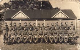 Group portrait of Medium Machine Gun (MMG) Platoon, 1 Para, Bourne, Lincs, August 1945