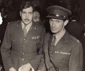 Majors Chris Perrin-Brown and Tony Hibbert at the Film Premiere of 'Theirs is the Glory', London Haymarket, 1946