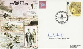 Malaya, Suez, Cyprus Commemorative Cover, signed by Brig Crook