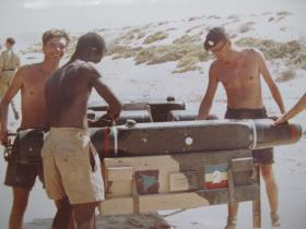 Malkara missiles being checked prior to an exercise, Sharjah, 1966.