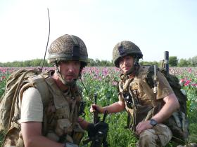 Sgt Phil Stout and Pte Johnny Harris in poppyfields, Afghanistan, 2008