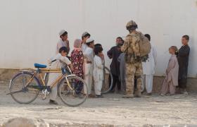 Meeting local children at Kandahar City, Afghanistan June 2008