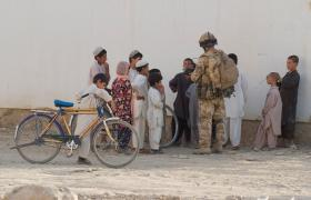 Meeting local children at Kandahar City, Afghanistan June 2008