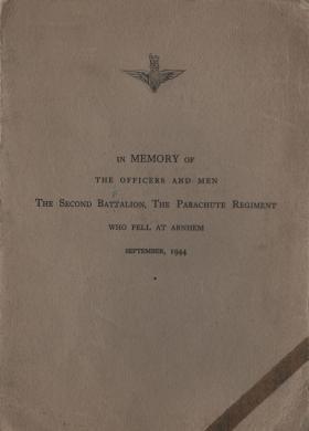 Memorial service booklet for 2nd Parachute Battalion at Arnhem, December 1945