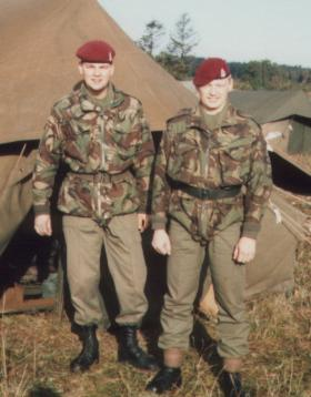 Men of 144 Para Field Ambulance at camp area, Denmark, September 1984