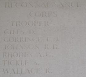 Men of the Reconnaissance Corps listed on the Groesbeek Memorial