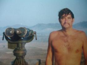 Michael Homer at the C Coy Observation Post looking into China, Hong Kong, 1980