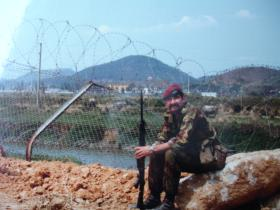 View of the old border fence line looking into China, Hong Kong, 1980