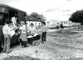 A NAAFI van at Pegasus Village, Aldershot, c.1960