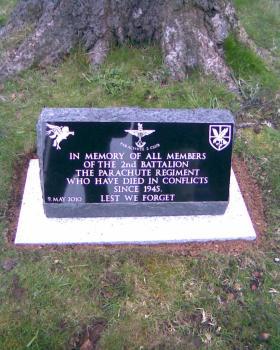 Memorials to 2nd Para Bn & 2 PARA erected at Stoke Rochford Hall, Grantham, Lincs, 2010.