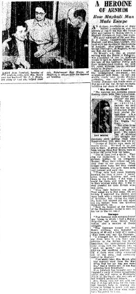 Newspaper cutting about the visit of Jean Lamberts to Liverpool home of LCpl Moore's parents, 1946