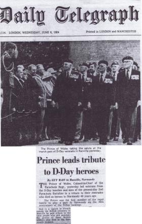 Newspaper cutting of 40th anniversary D-Day commemorations, 6 June 1984