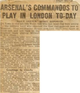 Newspaper article, in Daily Sketch after Bruneval raid