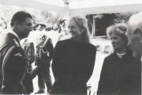 Nienke and Hiltje Van Eck with HRH Prince of Wales and Maj Tony Hibbert, Arnhem 50th anniversary, 1994