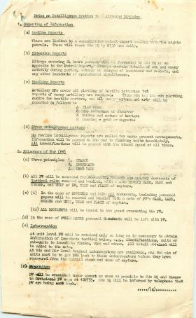 Notes on intelligence routine in 6 Airborne Division.
