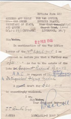 Note to family of SSgt Banks awarding money to recognise his Distinguished Flying Medal, Feb 1946