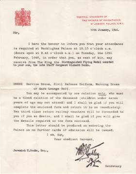 Official invitation to the Distinguished Flying Medal presentation for SSgt Richard Banks, January 1946