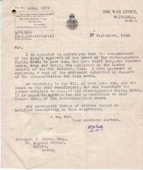 Official letter about Distinguished Flying Medal awarded to SSgt Richard Banks, September 1945