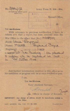 Official letter confirming Raymond Moore had returned to his unit, 24 October 1944