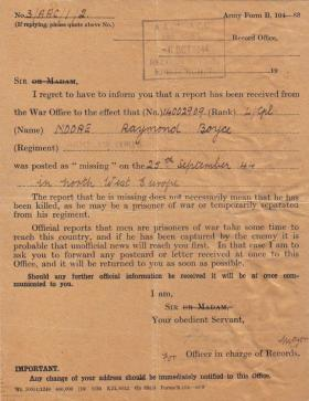 Official letter confirming Raymond Moore was Missing In Action at Arnhem, 6 October 1944