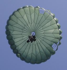 Arnhem 65th Commemoration: US Paratrooper descending onto the Ginkelse Heide (Ginkle Heath)