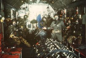 Members of Pathfinder Platoon on an RAF Hercules during HALO sortie 1985
