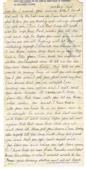 Prisoner of War letter to Pte Ralphs from his mother, sent to Stalag IVB