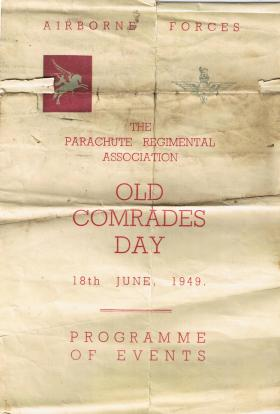 PRA Old Comrades Day programme, June 1949