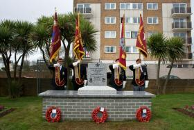 Paignton Airborne Forces Memorial with standard bearers, March 2010