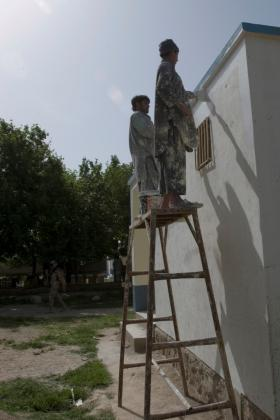 Helping to paint a school in Maywand, Afghanistan April 2008
