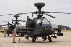 Pair of 4 Reg AAC Apaches prepare for training sortie from Wattisham, October 2009