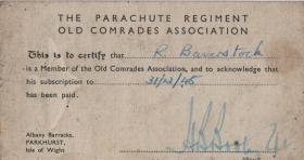 The Parachute Regiment Old Comrades Association card of Ralph Baverstock, 1945