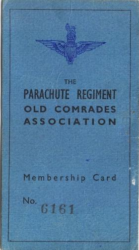 Parachute Regiment Old Comrades Association card for William Ralphs