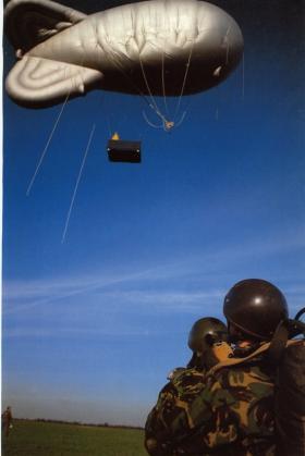 Preparing for a parachute drop from a balloon