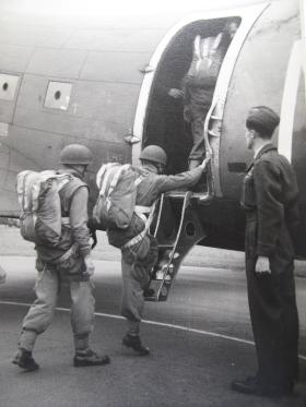 Paratroopers boarding a Dakota, wearing the X-Type parachute, c.1940s