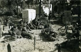 Soldiers from 2 PARA halt during a search in Ismailia cemetery, Egypt, 1952