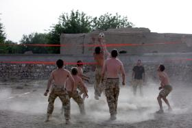 Paras playing volleyball in Hutal, Maywand, Afghanistan April 2008