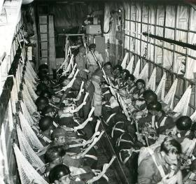 Paratroopers in a Beverley aircraft during operations in Malaya.