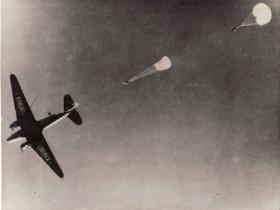 Paratroops jumping from C47 Dakota, Palestine, 1946