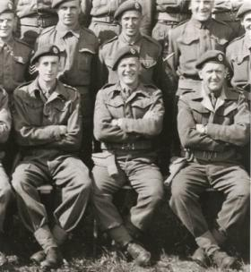 Part of a group photograph of glider pilots
