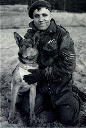 Peter Kawalski and Para Dog Johnny, Bulford, 1944