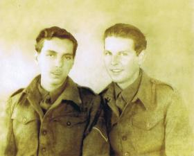 Gnr William Page with a friend, Slough, May 1945