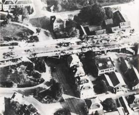 Aerial reconnaissance photograph of the wreckage at Arnhem Bridge after the Battle, c.October 1944