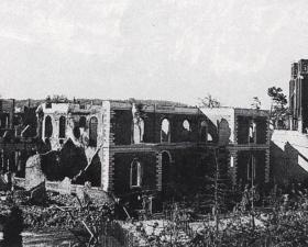The 1st Parachute Brigade HQ building near Arnhem Bridge after the Battle, c. 1944-5