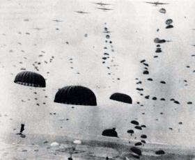 Paratroopers descend enmasse at the DZs near Arnhem, September 1944