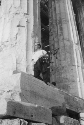 Piper John MacDonald at the Acropolis, Greece, 1962.