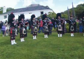 Pipers at a Trebah Military Day Commemoration