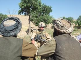 Platoon Commander meeting local elders in Zabul, June 2008